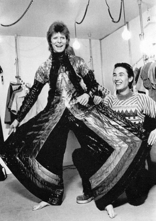 David Bowie as Ziggy Stardust approx circa 1974 with the fabulous designer Kansai Yamamato